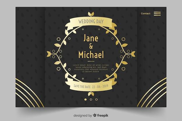Landing page boda dorada y negra vector gratuito