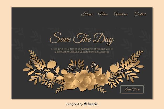 Landing page de boda elegante vector gratuito