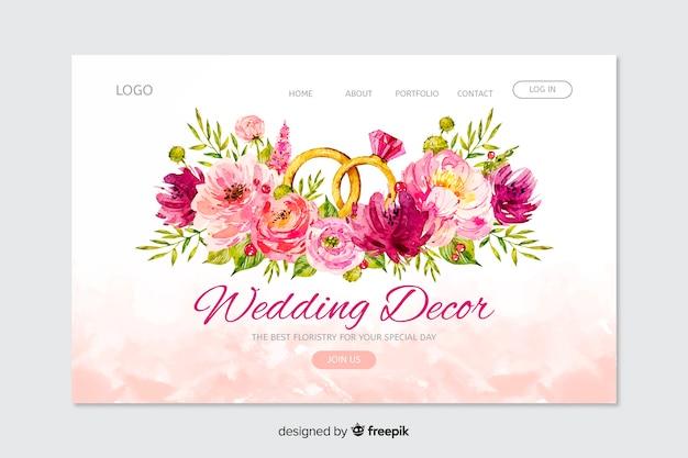 Landing page de bodas vector gratuito