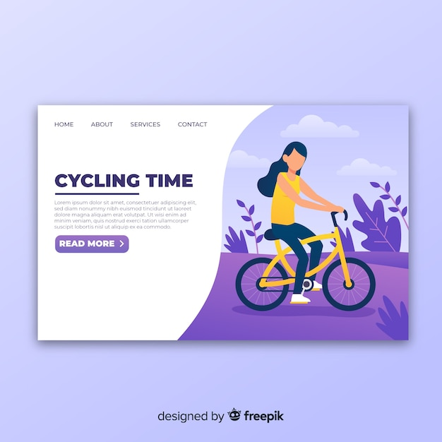 Landing page de ciclismo vector gratuito