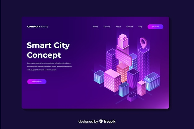 Landing page de ciudad inteligente vector gratuito