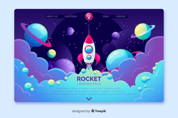 Landing page de cohete vector gratuito