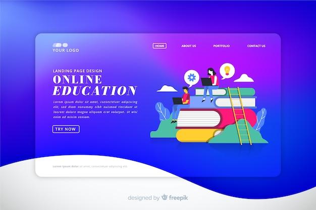 Landing page colorida con degradado vector gratuito