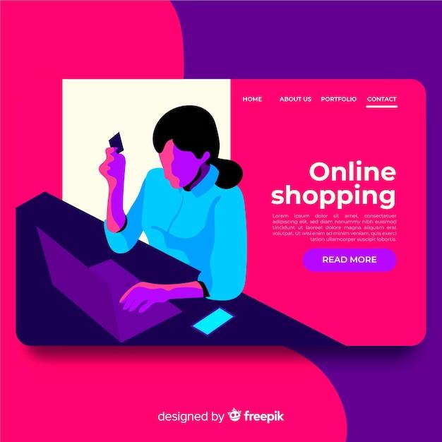 Landing page de compras online vector gratuito