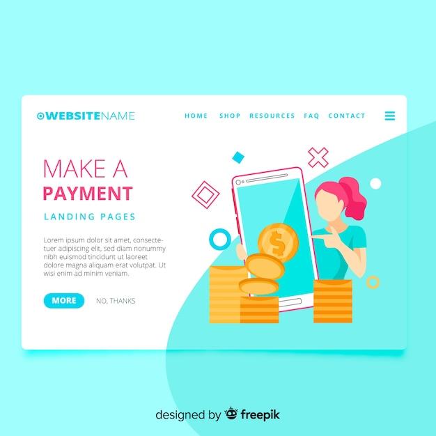 Landing page concepto dinero vector gratuito
