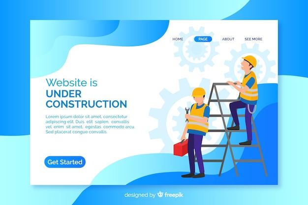 Landing page de en construcción vector gratuito