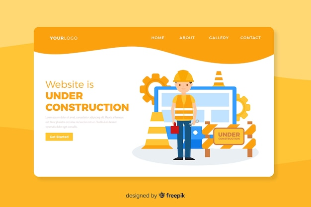Landing page en construcción vector gratuito