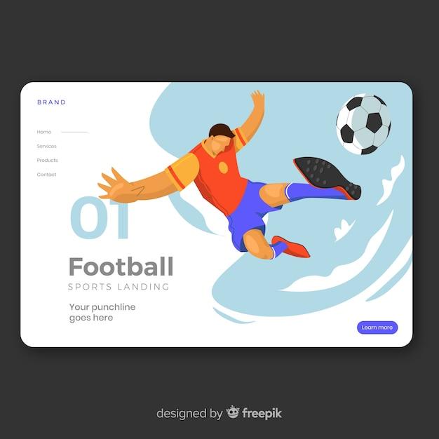 Landing page deporte diseño plano vector gratuito
