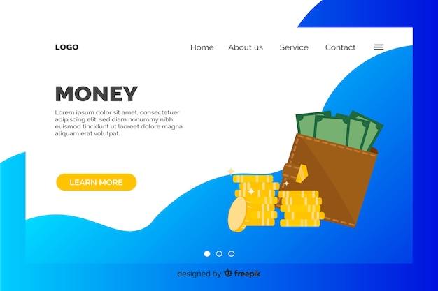 Landing page de dinero vector gratuito