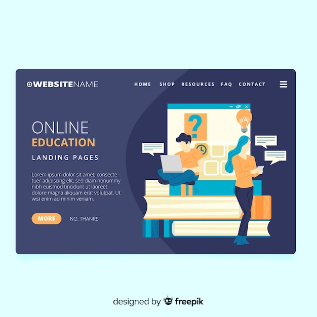 Landing page educación online vector gratuito