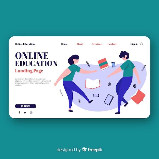 Landing page de educación online vector gratuito