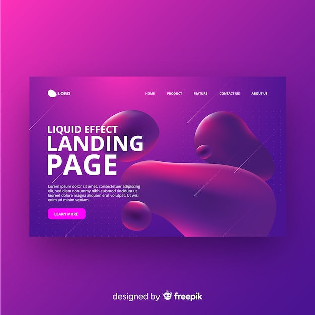Landing page con efecto líquido vector gratuito
