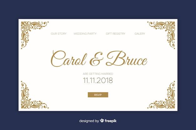 Landing page elegante de boda vector gratuito