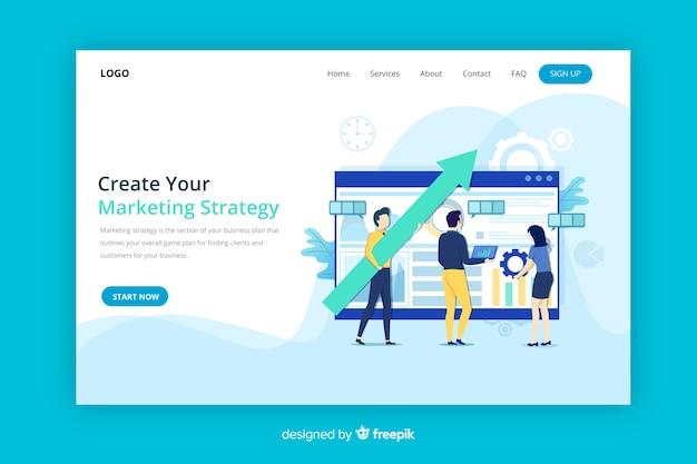 Landing page de estrategia de marketing vector gratuito