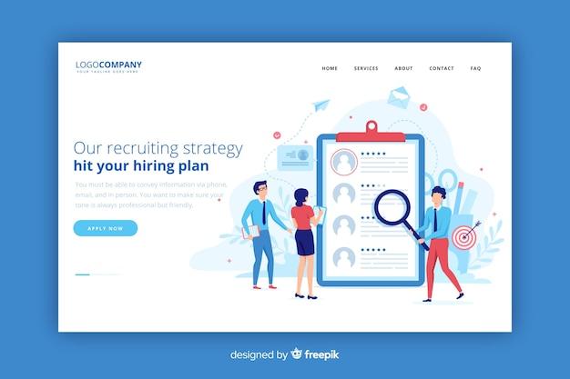 Landing page de estrategia reclutamiento vector gratuito