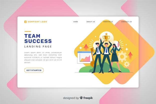 Landing page de éxito de equipo vector gratuito