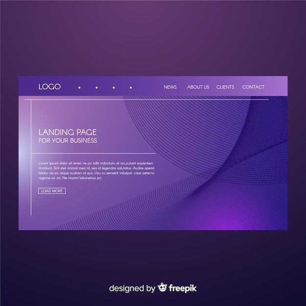 Landing page de formas abstractas vector gratuito