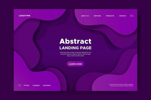 Landing page con formas dinámicas. vector gratuito