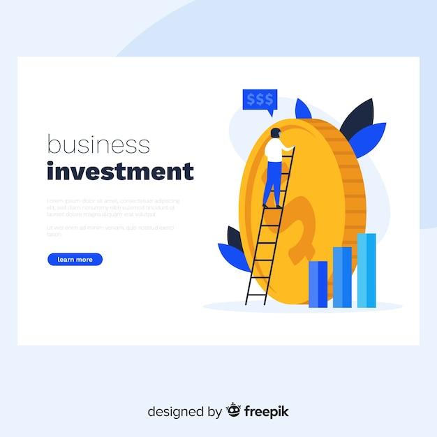 Landing page de inversión de negocios vector gratuito