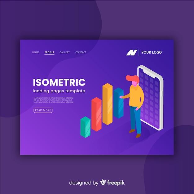 Landing page isométrico vector gratuito