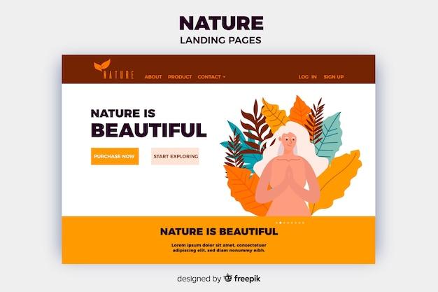 Landing page de naturaleza vector gratuito