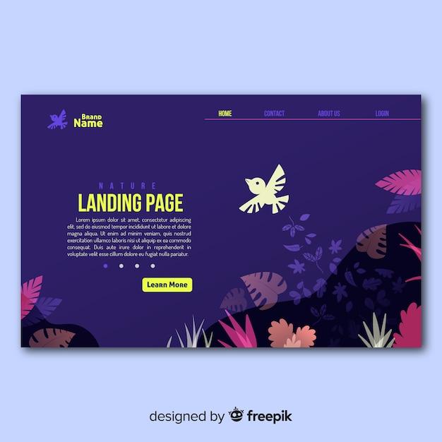Landing page pájaro volando vector gratuito