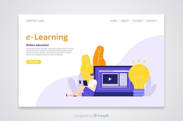 Landing page plana concepto e-learning vector gratuito