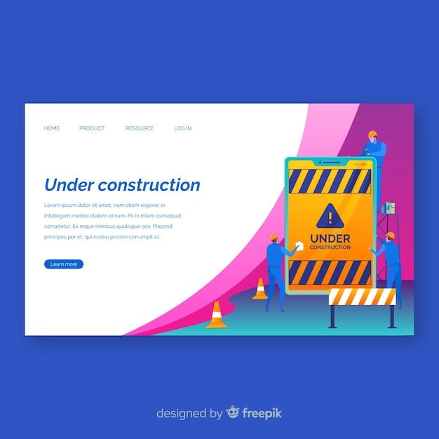 Landing page plana en construcción vector gratuito