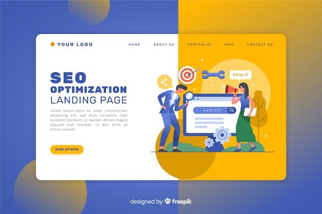 Landing page de posicionamiento seo vector gratuito