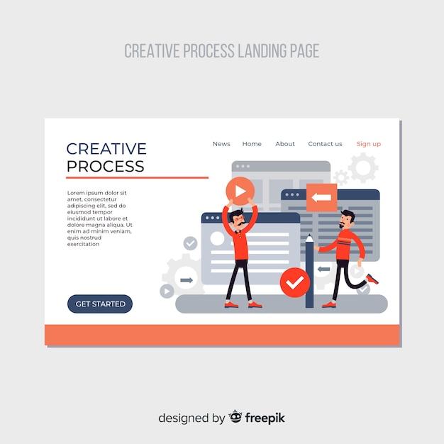 Landing page proceso creativo vector gratuito