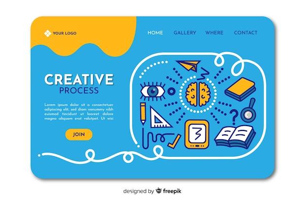Landing page de proceso creativo vector gratuito