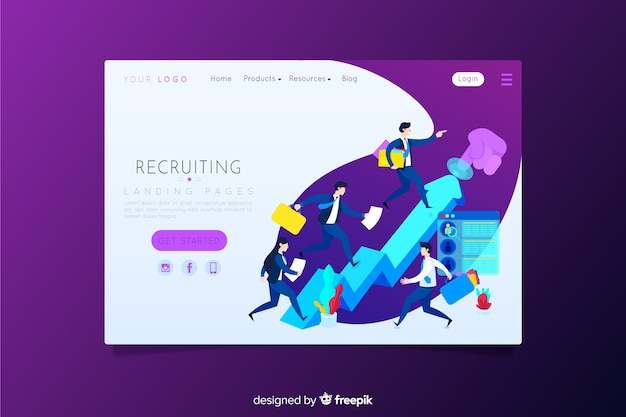 Landing page de reclutamiento vector gratuito