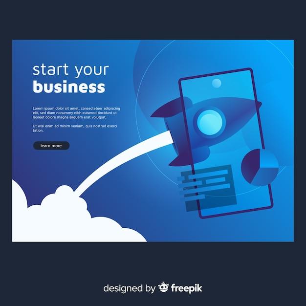 Landing page de startup con un cohete vector gratuito