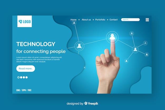 Landing page de tecnología con foto vector gratuito