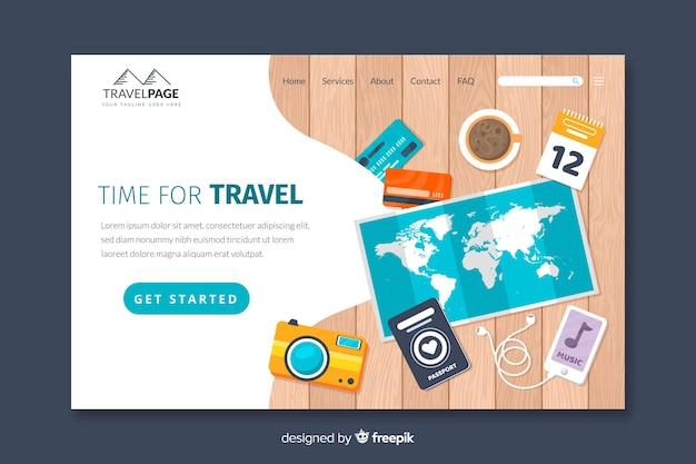 Landing page de viaje en diseño plano vector gratuito
