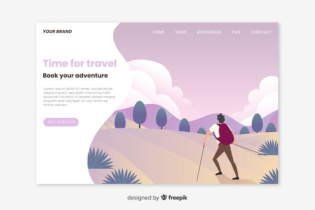Landing page viaje diseño plano vector gratuito