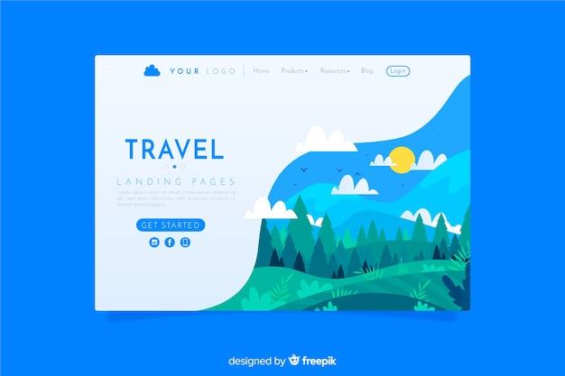 Landing page de viajes vector gratuito
