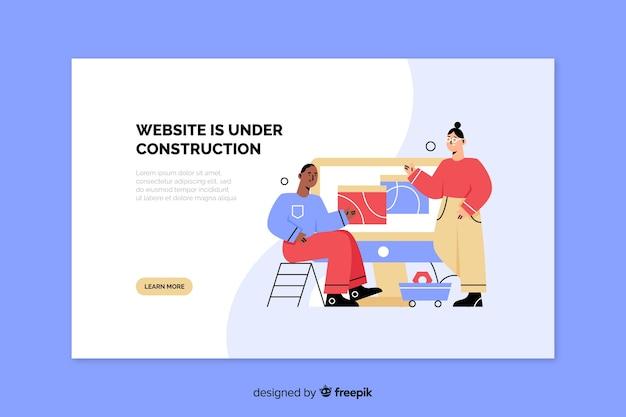 Landing page web en construcción vector gratuito