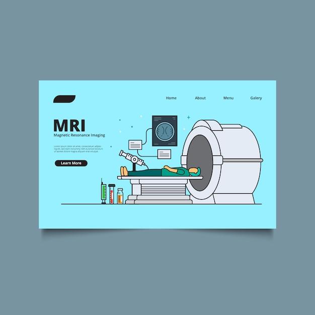 Landing page web template radiología concept. tecnología medica. equipo de alta tecnología y concepto de diagnóstico. Vector Premium