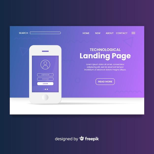 Landing pages para dispositivos tecnológicos vector gratuito