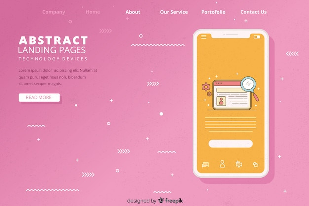 Landing pages para dispositivos tecnológicos vector gratuito
