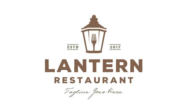 Lantern post restaurant vintage logo design Vector Premium