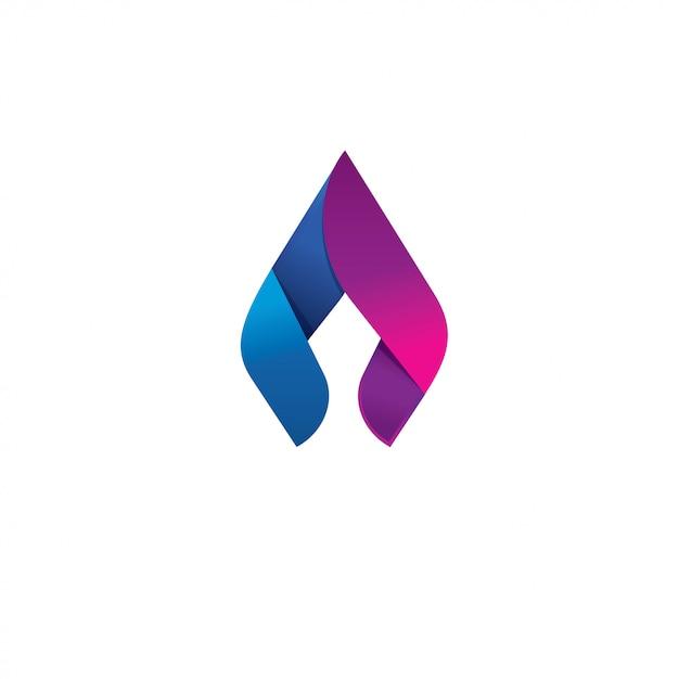 Lanza llama vector logo concepto de diseño Vector Premium