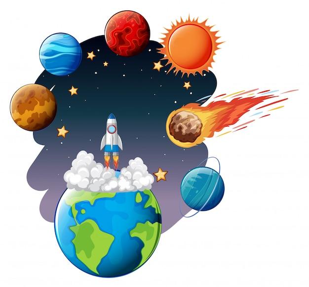 Lanzamiento de cohete al espacio. vector gratuito