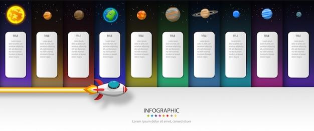 Lanzamiento del cohete al sol con etiqueta y planeta. plantilla de infografía y concepto de corte de papel de vectores. Vector Premium