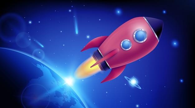Lanzamiento de cohete espacial 3d. exploración espacial. Vector Premium