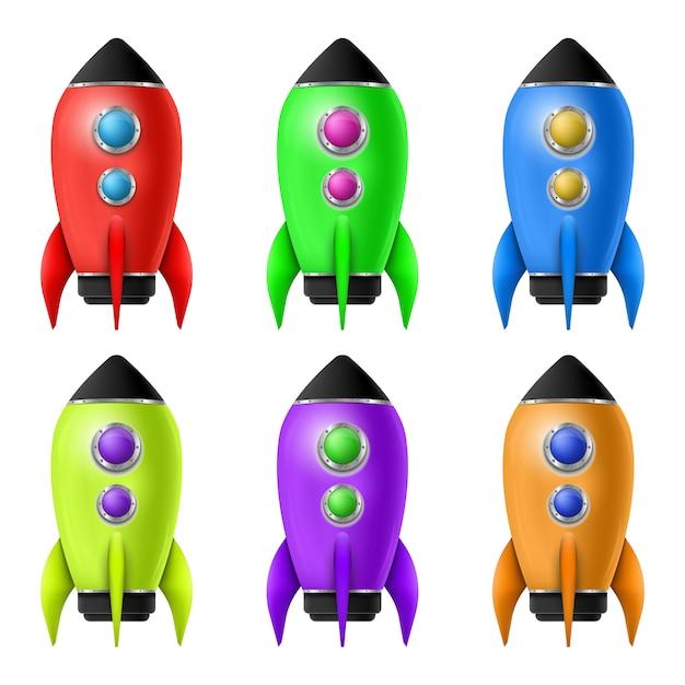 Lanzamiento del cohete espacial 3d. exploración espacial. Vector Premium