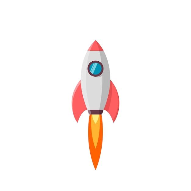 Lanzamiento de cohete. ilustración en blanco Vector Premium