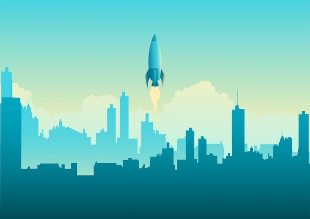 Lanzamiento de cohete en paisaje urbano Vector Premium