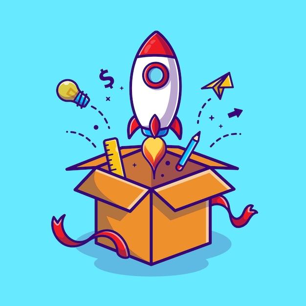 Lanzamiento de cohetes desde la caja de dibujos animados icono de ilustración concepto de icono de tecnología empresarial vector gratuito